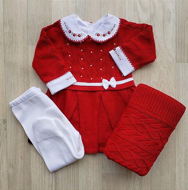Saída Maternidade Tricot - Milena Vermelho bordô (Sem body)