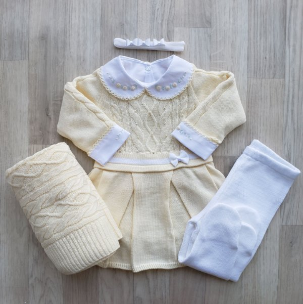 Saída Maternidade Tricot - Milena Amarelo (Sem body)