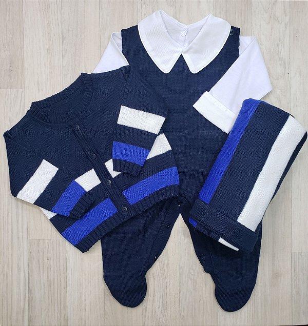 Saída Maternidade Tricot - Rafael Azul bic (Sem body)