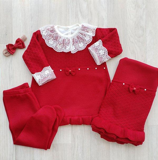 Saída Maternidade Tricot - Estella Vermelho bordô (Sem body)