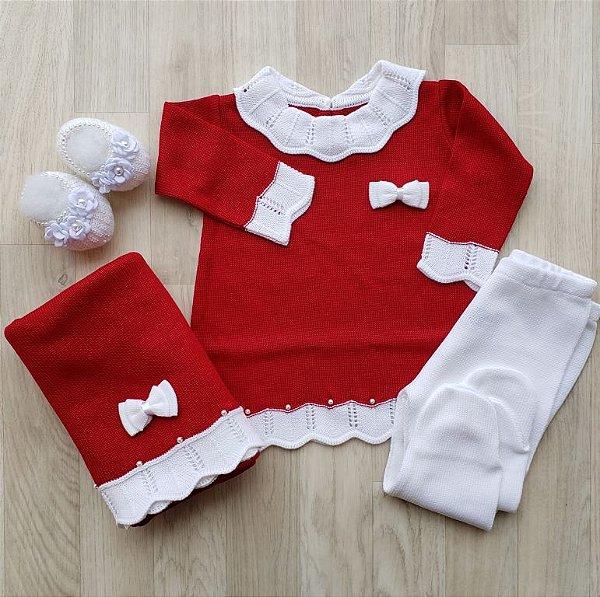 Saída Maternidade Tricot - Ana Vermelho e Branco