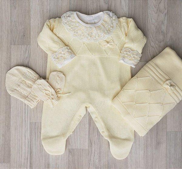 Saída Maternidade Tricot - Joanna Amarelo - Sem body
