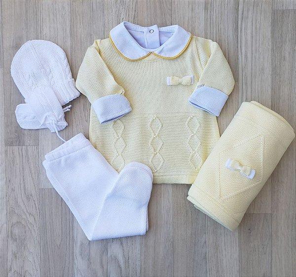 Saída Maternidade Tricot - Luna Amarelo (Sem body)
