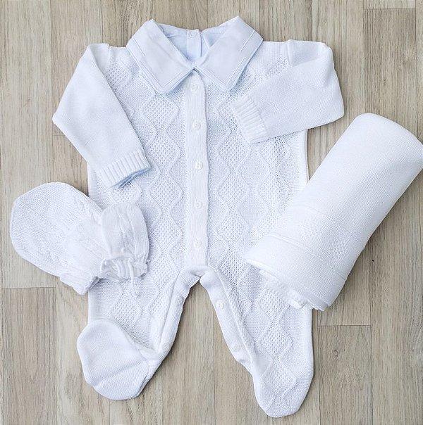 Saída Maternidade Tricot - Nick Branco (Sem Body)