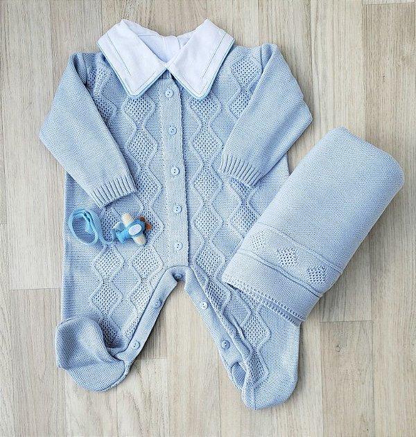 Saída Maternidade Tricot - Nick Azul claro (Sem Body)