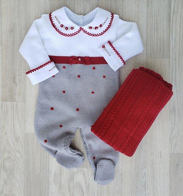 Macacão Maternidade Tricot - Helena Cinza e Vermelho (Somente macacão)