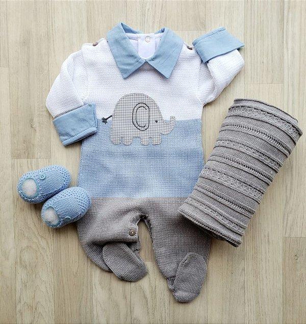Macacão Maternidade tricot - Elefantinho Azul e Cinza (Somente macacão)