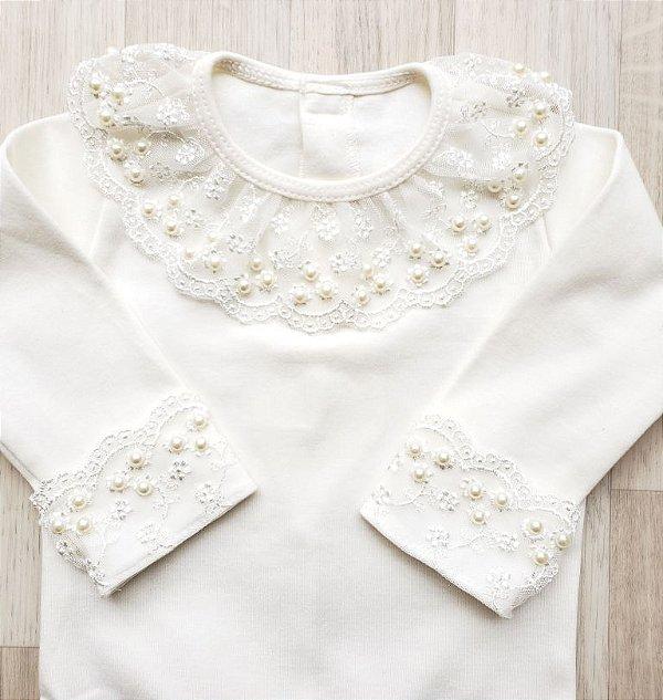 Body Maternidade Renda Larga com Pérolas - Off white