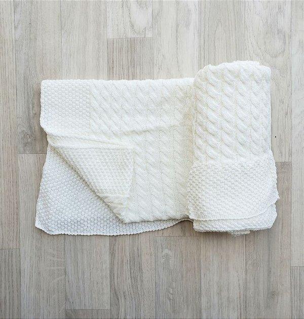 Manta Tricot Pontos e Tranças - Off white