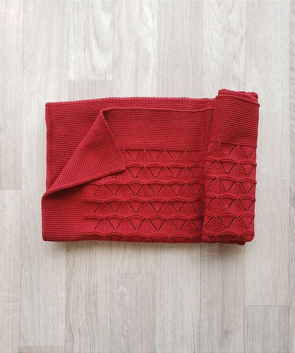 Manta Tricot Vazada - Vermelho bordô