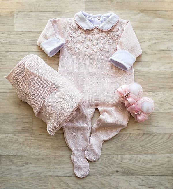 Macacão Maternidade Tricot - Violeta Rosa bebê