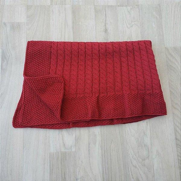 Manta Tricot Pontos e Tranças - Vermelho bordô