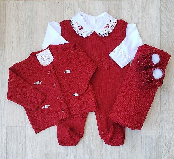 Saída Maternidade Tricot - Bela Vermelha (Sem body)