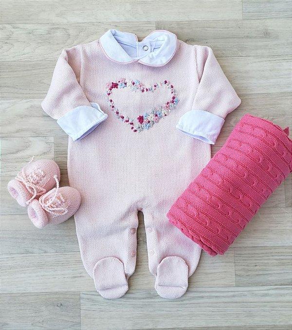 Macacão Maternidade Tricot - Cora rosa (Somente macacão)
