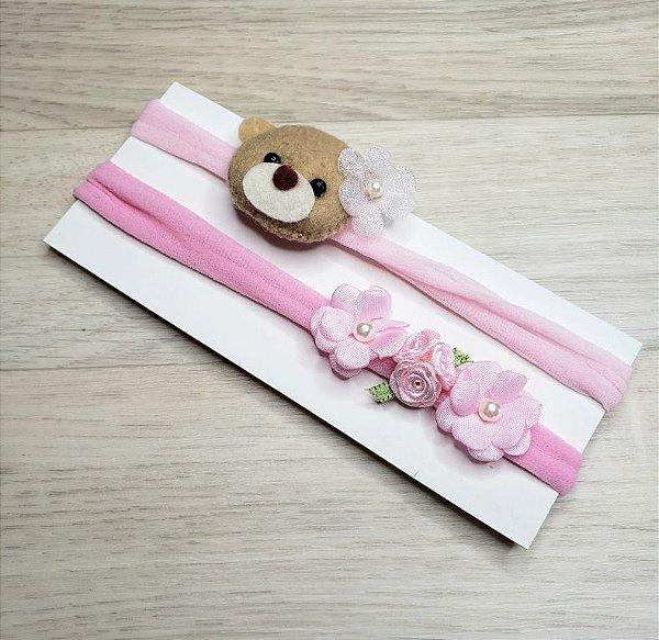 Kit 2 Faixinhas - Ursinha e Mini flores Rosa