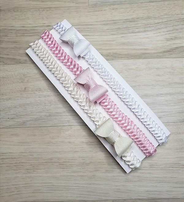 Kit 3 faixinhas mini tranças (Branco, Rosa e Off white)