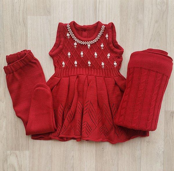 Conjunto Maternidade - Alicia vermelho (vestido e calça)