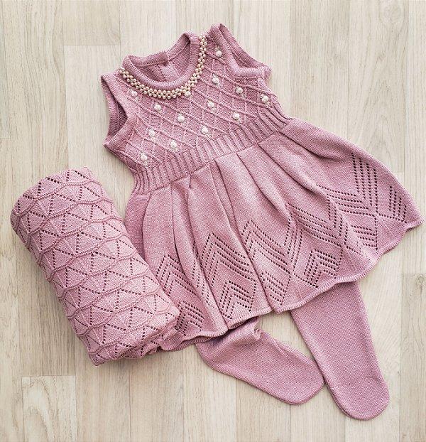 Conjunto Maternidade - Alicia rosê (vestido e calça)