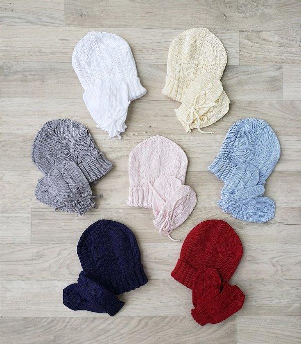 Kit touca e luvas em tricot - Cores diversas
