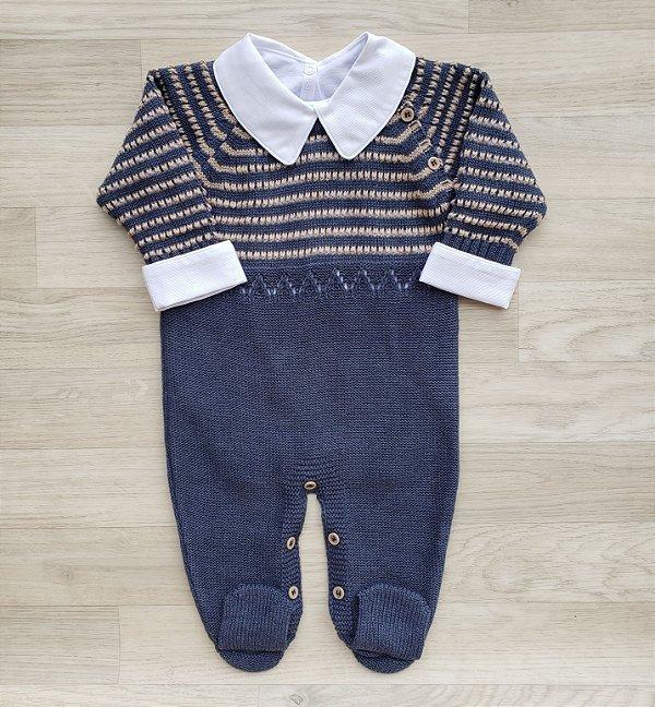 Macacão Maternidade Tricot - Ravi cor jeans (Somente macacão)