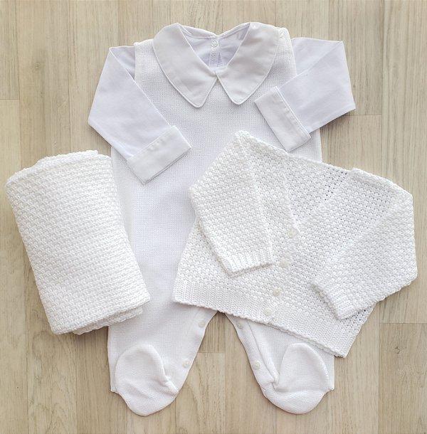 Saída Maternidade Tricot - Fernando branco (Sem body)