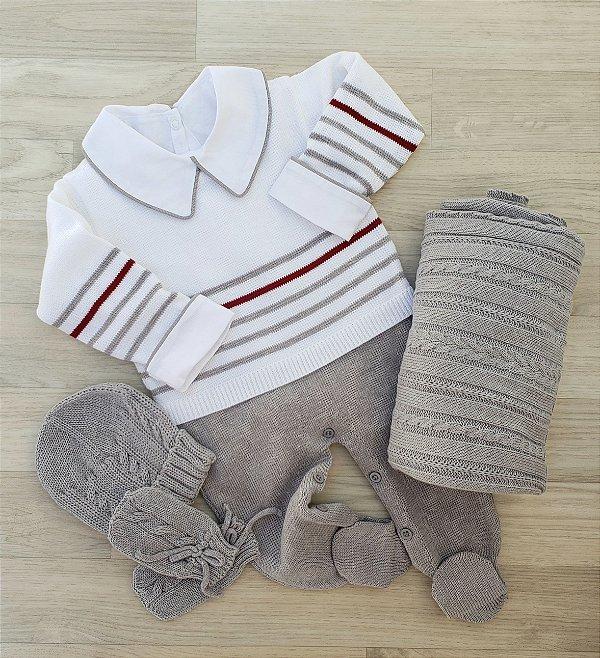 Macacão Maternidade Tricot - Pedro Branco e cinza (Somente macacão)