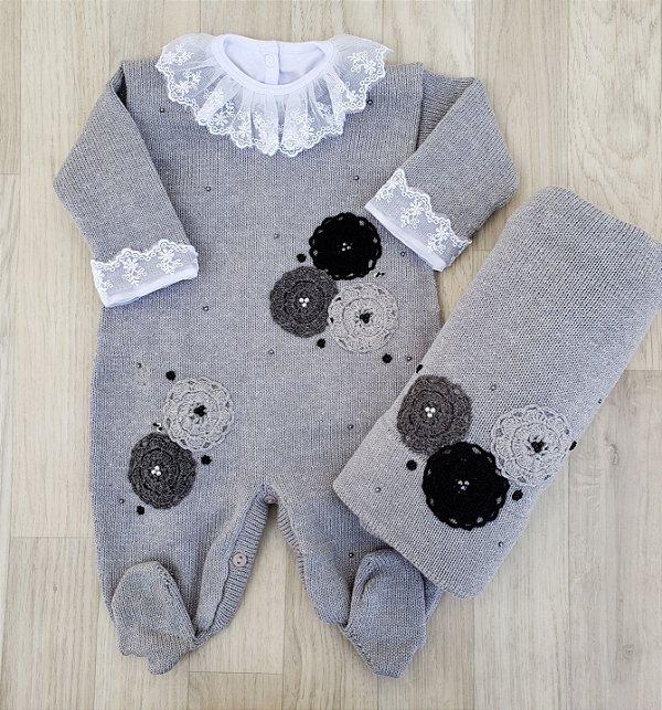Saída Maternidade Tricot - Antônia cinza (Sem body)