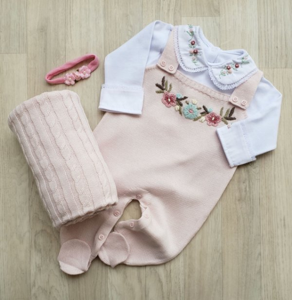 Jardineira Maternidade Tricot - Ayla rosa (Somente jardineira)