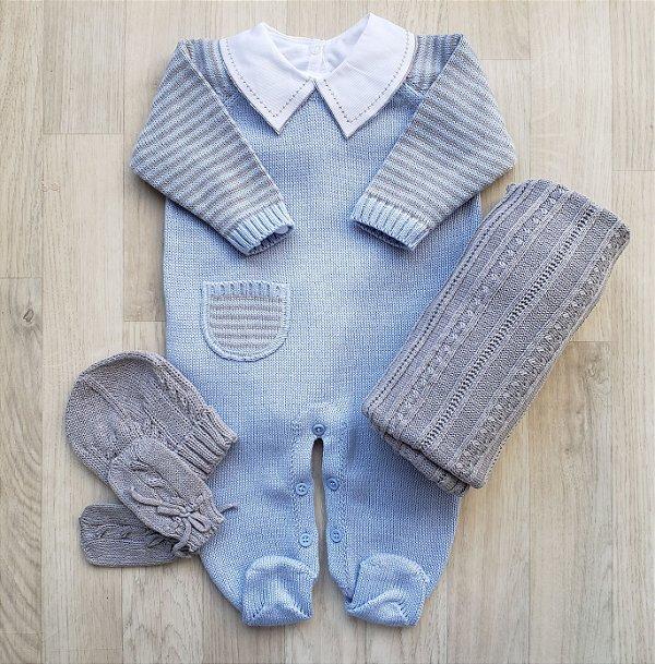 Macacão Maternidade Apolo - Azul com cinza (Somente macacão)