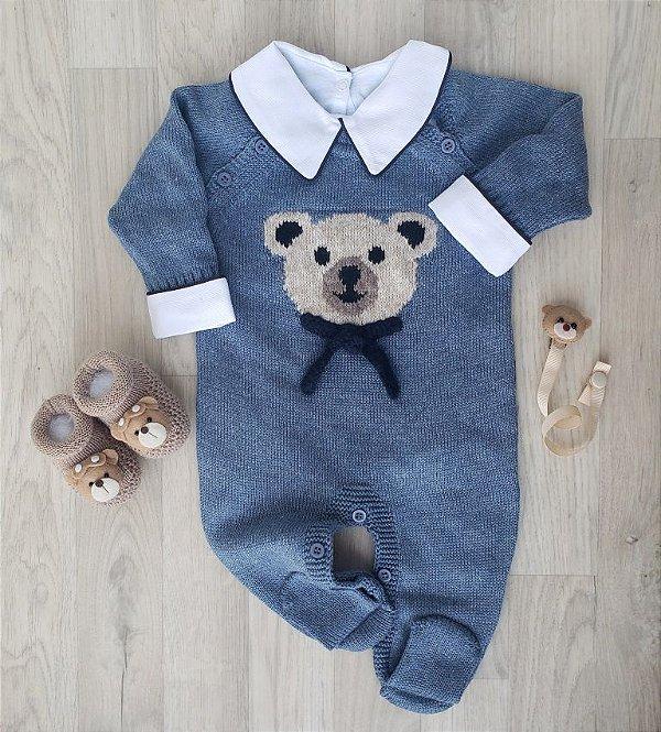 Macacão Maternidade Baby Bear - Azul jeans (Somente macacão)