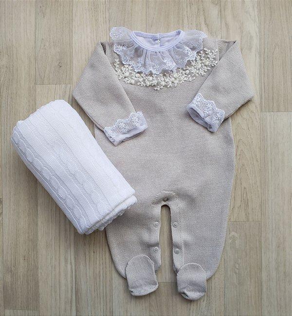 Macacão Maternidade Tricot - Angelina cinza claro (Somente macacão)