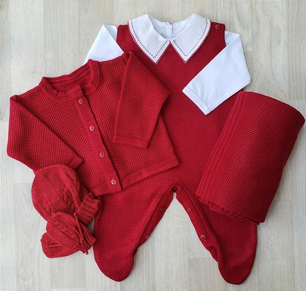 Saída Maternidade Tricot - Artur Vermelho bordô (Sem body)