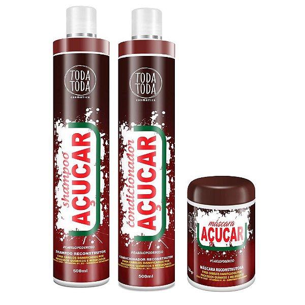 Kit Açúcar Shampoo + Condicionador + Máscara 250g