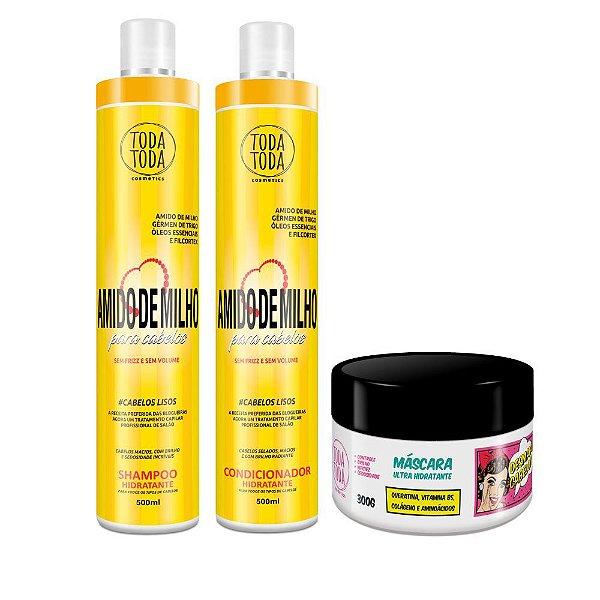 Kit Desmaia Cabelo 300g + Shampoo e Condicionador Amido de Milho