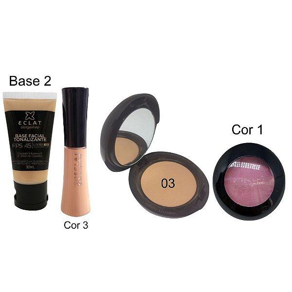 Kit de Maquiagem Hipoalergênica para Pele Completo Cor 03 Blush 1 Eclat Alergoshop