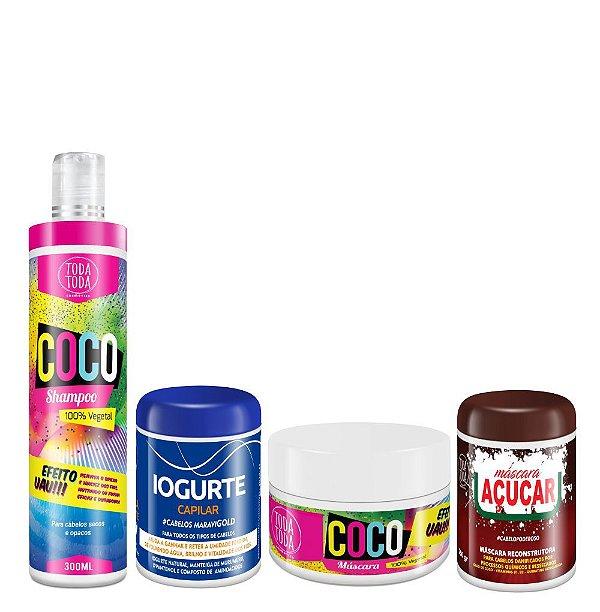 Kit Cronograma Capilar Shampoo + Máscara Coco + Máscara de Iogurte + Máscara de Açúcar