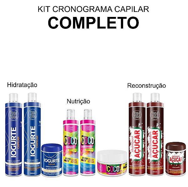 Kit Cronograma Capilar Completo - Iogurte Coco e Açúcar - Máscaras Pequenas