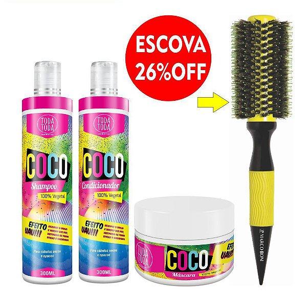 Kit Coco Shampoo + Condicionador + Máscara 300g + Escova Ceramic Premium 60 mm