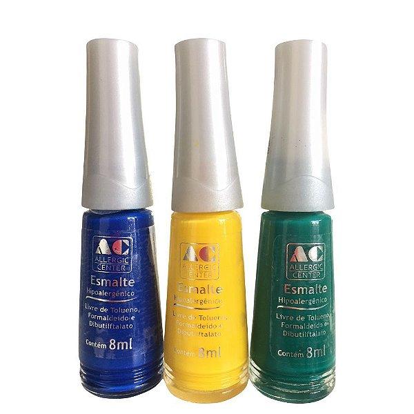 Esmalte Allergic Center Hipoalergênico 3 Free Kit com 3 Cores Azul Amarelo e Verde