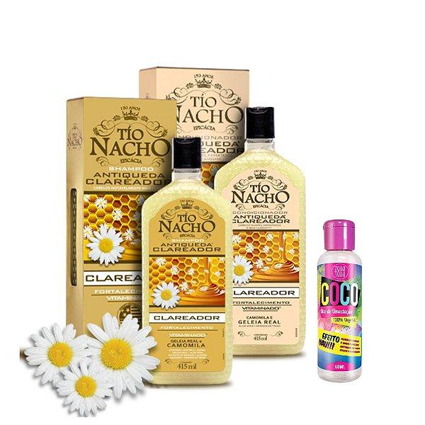 Kit Shampoo + Condicionador Tio Nacho Clareador Camomila 415ml + Óleo de Coco Umectante 60ml