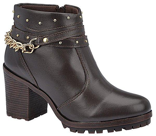 Ankle Boot Couro Café Salto 7 cm