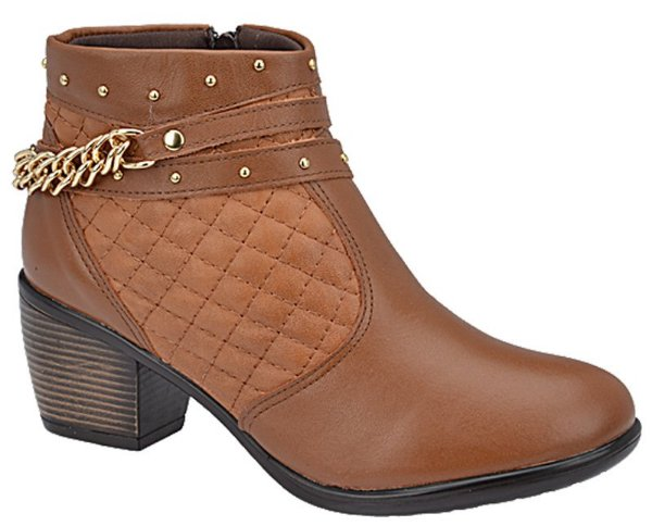 Ankle Boot Couro Caramelo Salto 5,5 cm