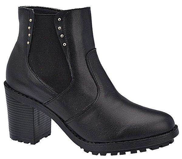 Ankle Boot Couro Preto Salto 7 cm