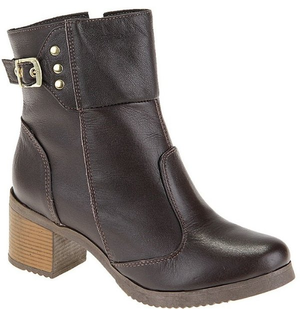 Ankle Boot Couro Café Salto 5 cm