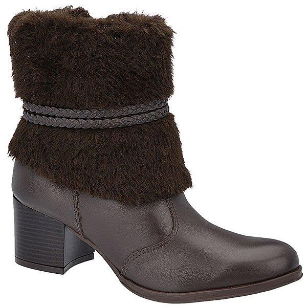 Ankle Boot Couro Café com Lã