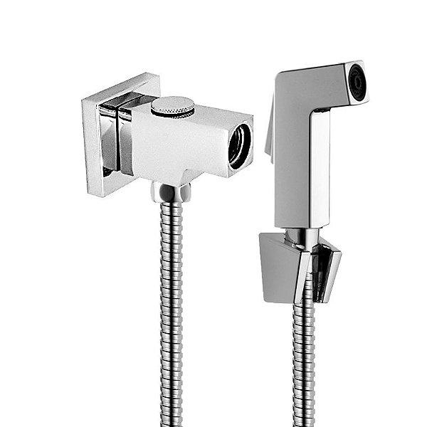 Kit Desviador Quadrado Metal C/ Flexível de 180 CM Aço Inox Gatilho Quadrado e Suporte ABS
