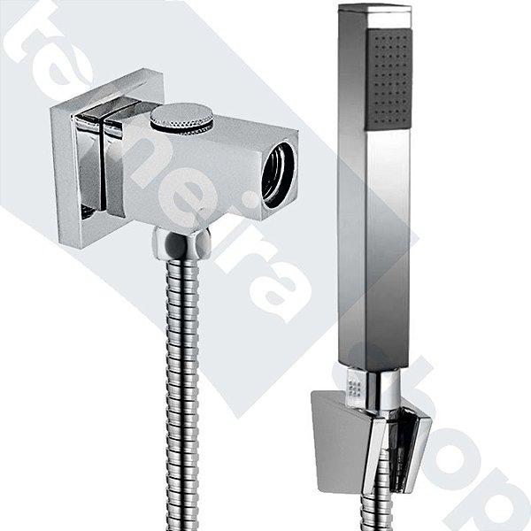 Kit Desviador Quadrado C/ Ducha Manual Quadrada Flexível 1,80 M e Desviador da Ducha Manual