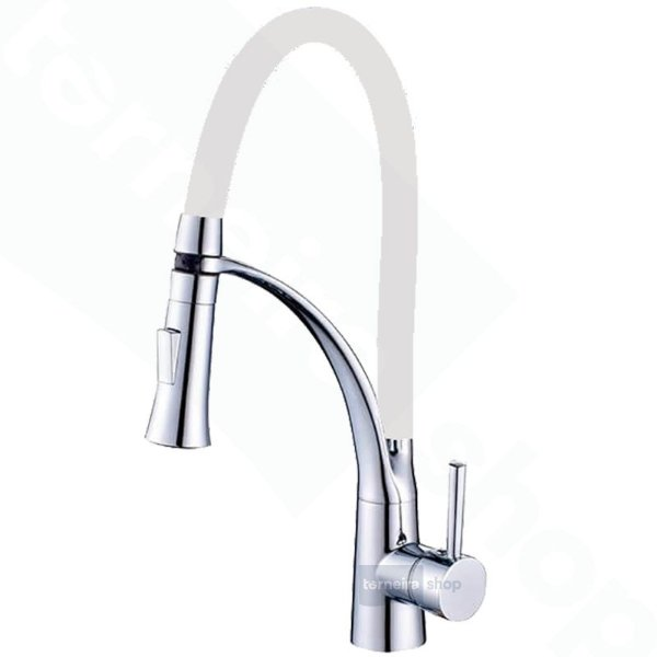 Misturador Monocomando Gourmet Design White / Cor Branco Mesa Bancada C/ Ducha 2 Jatos