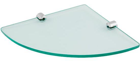 Prateleira de Vidro Temperado 6 mm Para Cantos de Parede 23 x 32 cm Kit Fixação Aço Inox