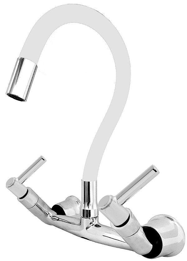 Misturador P/ Cozinha de Parede Gourmet Branco Flexível 1/4 de Volta C11